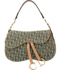 christian dior pre-owned trotter saddle shoulder bag - green