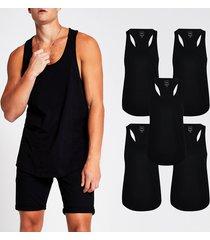 river island mens black muscle fit racer vest 5 pack