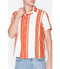 topman orange and ecru stripe revere shirt skjortor stripes