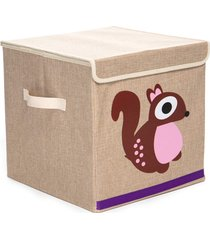 caixa organizadora dolce home linha bichos com tampa - esquilo bege