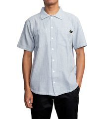 rvca day shift stripe short sleeve button-up shirt, size small in ash blue at nordstrom