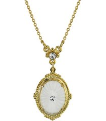 """downton abbey gold-tone frosted lalique-inspired oval pendant necklace 16"""" adjustable"""