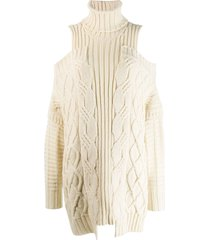 monse cold-shoulder fisherman knit sweater - neutrals