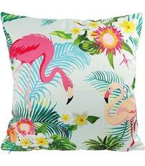 almofada em poliéster flamingo e flores 45x45cm verde