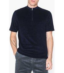 selected homme slhterry zip ss polo b t-shirts & linnen mörk blå