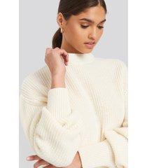 na-kd balloon sleeve ribbed sweater - white