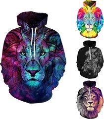 3d lion print cool funny autumn winter fashion casual men women couple top hoodi