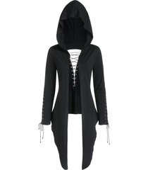 lace up hooded asymmetrical open cardigan