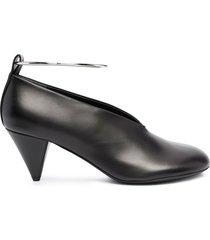 jil sander metal ankle ring pumps - black
