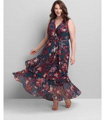 lane bryant women's crossover high-low maxi dress 14 burgundy floral
