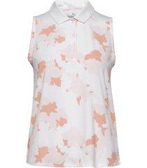 floral sleeveless polo t-shirts & tops polos rosa puma golf