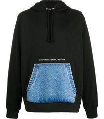 diesel denim pocket cotton hoodie - black