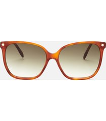 alexander mcqueen women's square frame acetate sunglasses - havana/green