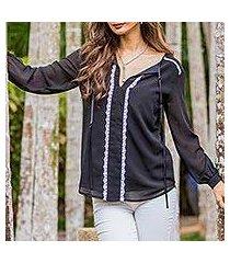 lace accent blouse, 'noble grace in black' (thailand)