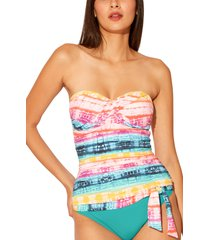 women's bleu by rob beattie good vibrations twist strapless bandeau tankini top, size 12 - blue/green