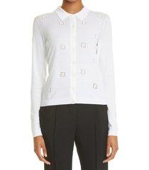 women's fendi ff ladder stitch cotton cardigan, size 12 us - white