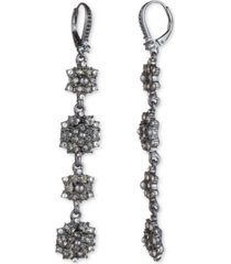 marchesa hematite-tone crystal & imitation pearl cluster linear drop earrings