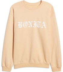 women's viva la bonita essential logo crewneck pullover, size x-large - brown
