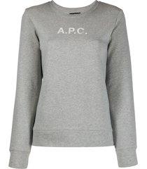 a.p.c. logo-print crew neck sweatshirt - grey