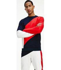tommy hilfiger men's organic cotton terry sweatshirt navy/red/white - xl