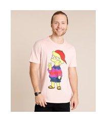 camiseta masculina carnaval lisa simpson manga curta gola careca rosa claro