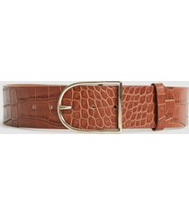 reiss isabelle - leather crocodile patterned belt in tan, womens, size l