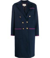 gucci button-front coat - blue