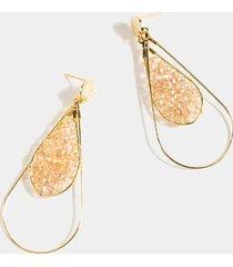 madeline beaded double teardrop earrings - champagne