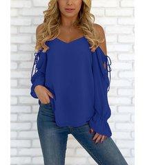 blusa de gasa con cordones y hombros descubiertos con cuello en v azul oscuro