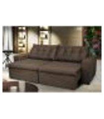 sofá austrália 2,72 mts retrátil, reclinável com molas e pillow no assento tecido suede café - cama inbox