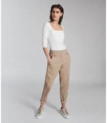 reiss bradie - cotton tapered cargo pants in, womens, size 14