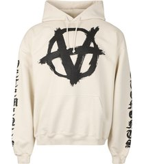 double anarchy logo hoodie off-white and black