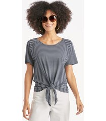 sanctuary women's lou ruched tie tee in color: navy vibration seafoam stripe size large from sole society