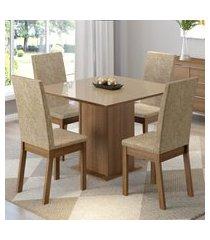 conjunto sala de jantar madesa moscou mesa tampo de vidro com 4 cadeiras marrom