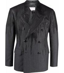 maison margiela distressed-effect double-breasted blazer - grey
