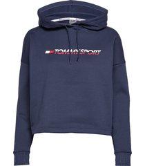 cropped fleece hoody hoodie trui blauw tommy sport