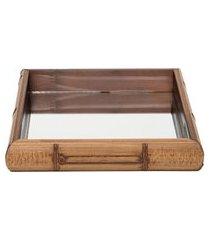 bandeja quadrada de madeira bamboo - marrom