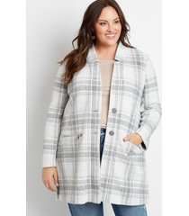 maurices plus size womens gray plaid button front cardigan coat