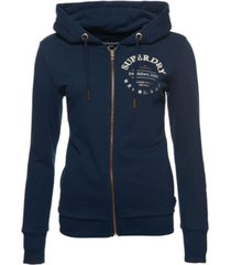 superdry embroidered serif loopback zip hoodie
