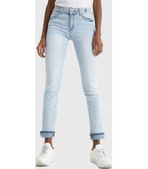 jeans desigual celeste - calce ajustado
