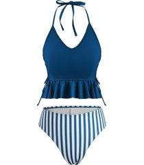 halter lace-up striped high leg peplum tankini swimwear