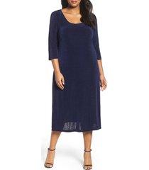 plus size women's vikki vi three-quarter sleeve stretch knit a-line dress, size 1x - blue