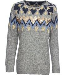 maglione norvegese con paillettes (grigio) - bodyflirt