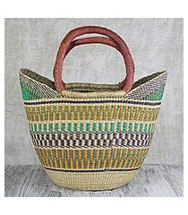 leather accented raffia tote bag, 'supper basket' (ghana)