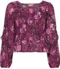 doreen smock blouse blouse lange mouwen paars odd molly