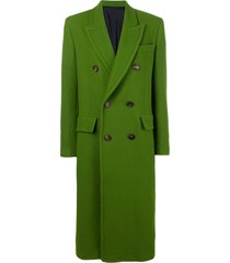 ami three buttons patched pockets unlined coat - green