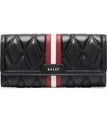 bally dinney continental quilted wallet - black