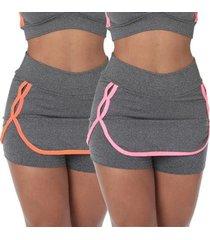 kit com 2 shorts saia fitness nicole feminino