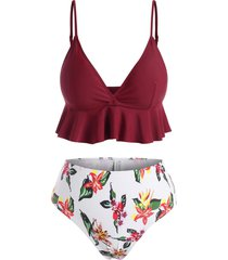 contrast flower print flounce peplum bikini swimwear