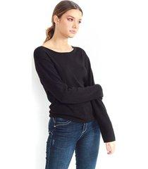 jersey de punto fino, cuello redondo, manga larga color-negro-talla-l